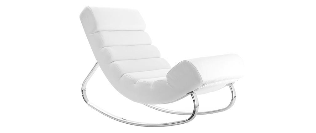 Rocking chair design blanc TAYLOR