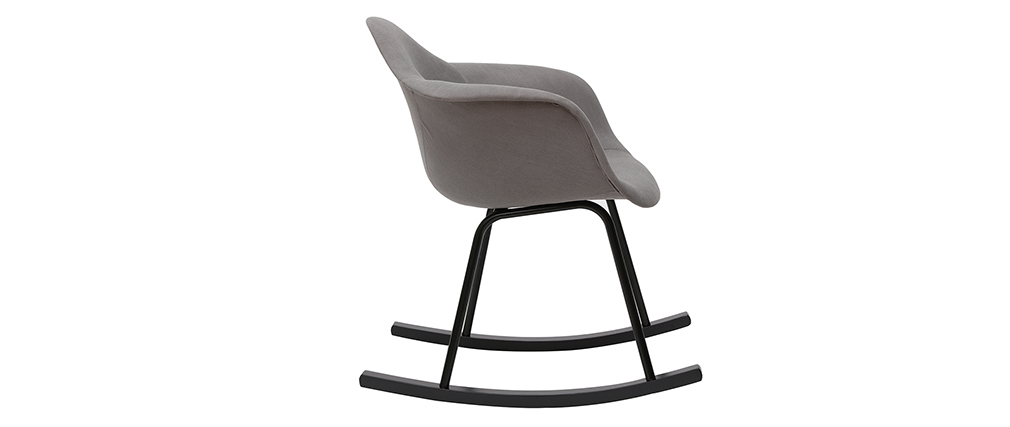 Rocking chair design effet velours gris clair MAMBO