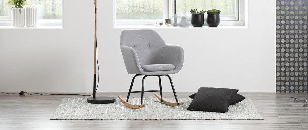 Rocking chair design en tissu gris clair KENDALL