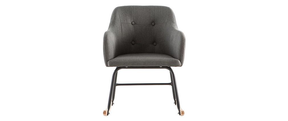 Rocking chair design en tissu gris foncé BALTIK