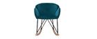 Rocking chair design en velours bleu pétrole RHAPSODY