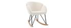 Rocking chair design tissu blanc effet laine bouclée RHAPSODY - Miliboo & Stéphane Plaza