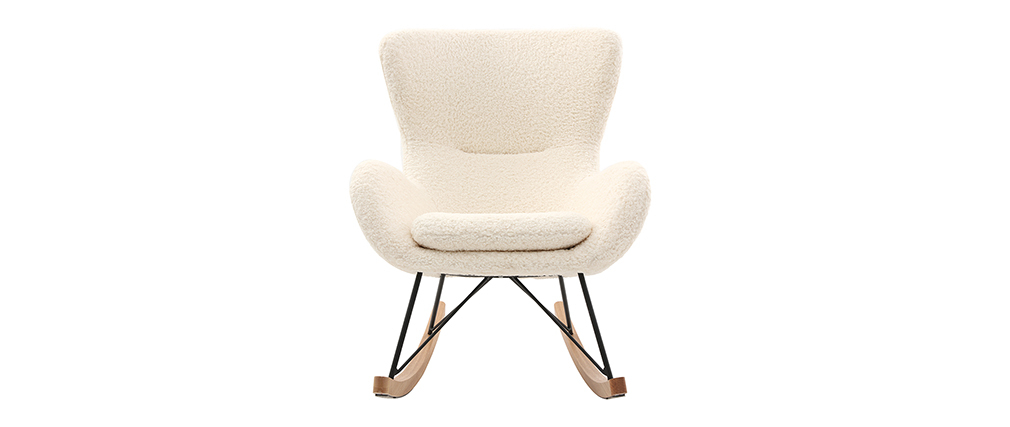 Rocking chair design tissu blanc effet peau de mouton ESKUA