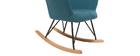 Rocking chair design tissu bleu canard pieds métal et chêne BABY BRISTOL