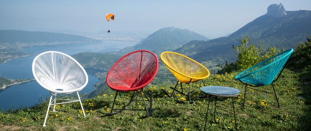 Rocking chair en fils de résine turquoise BELLAVISTA