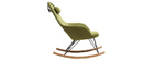 Rocking chair en tissu vert avec pieds métal et frêne JHENE