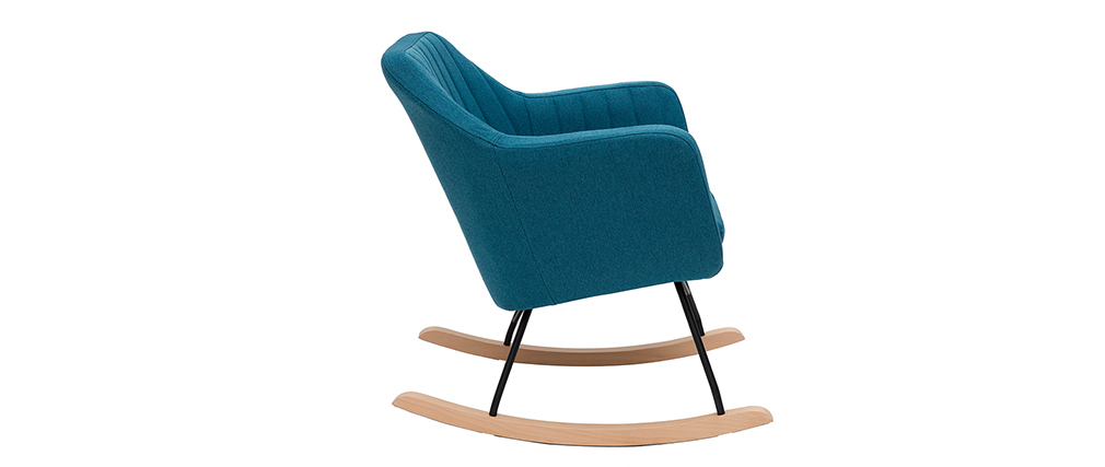 Rocking chair scandinave en tissu bleu canard ALEYNA