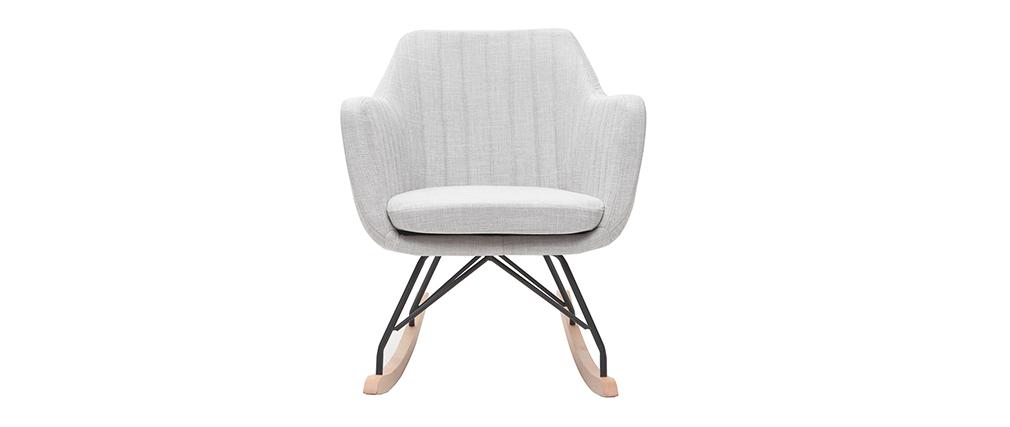 Rocking chair scandinave en tissu gris clair ALEYNA