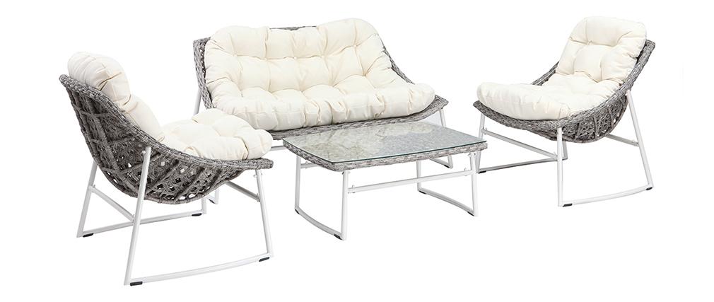 Salon de jardin en résine tressée gris et blanc avec table basse COMFY