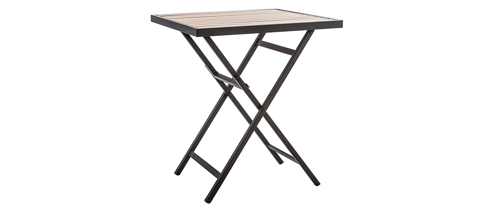 Salon de jardin pliable avec table et 2 chaises noir et bois MOJITO