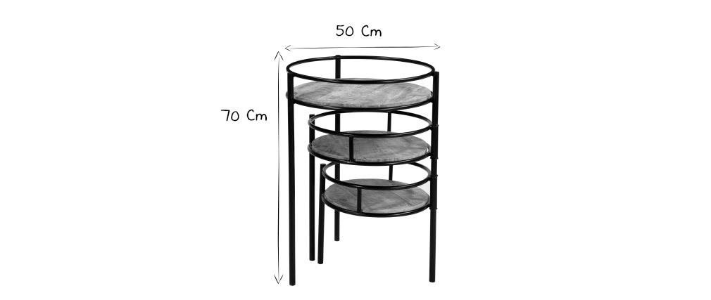 Support de plantes modulable en métal et manguier massif THREE