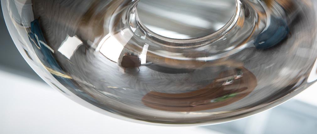 Suspension design verre soufflé transparent noir MISTIC