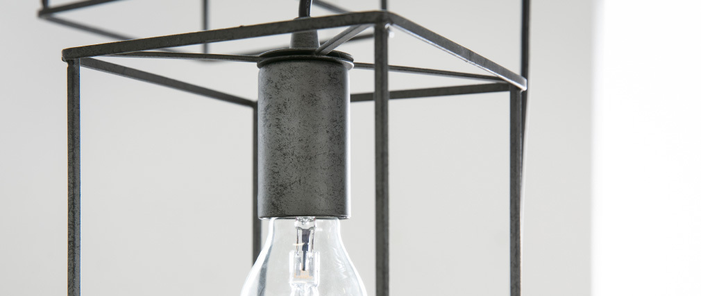 Suspension industrielle 3 lampes argent vieilli QUATRO