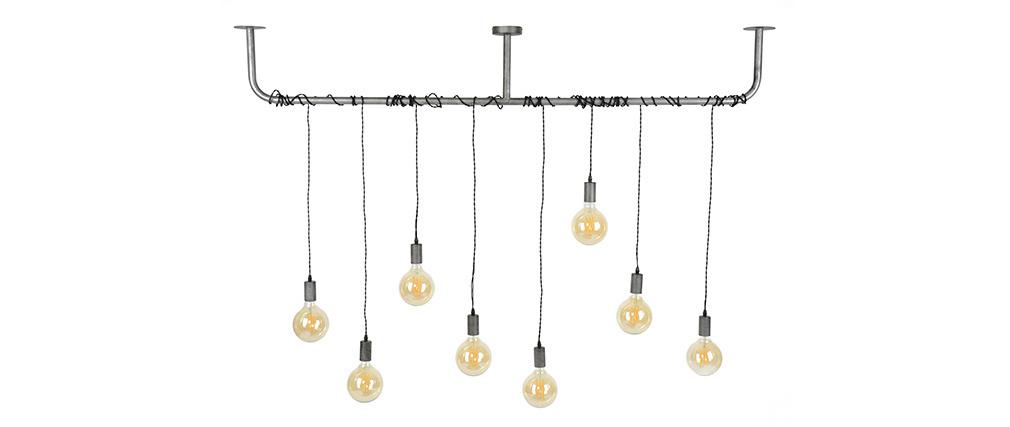 Suspension industrielle argent vieilli 8 lampes LIDO
