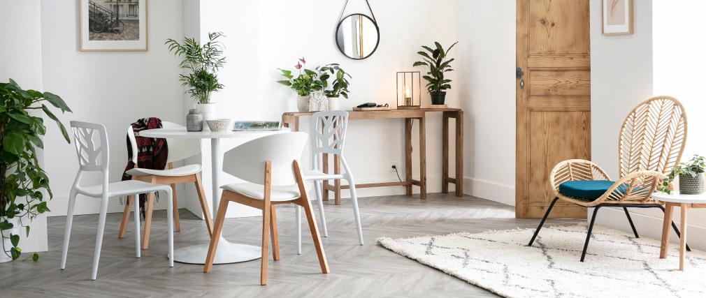Table à manger design blanc D90 cm CALISTA