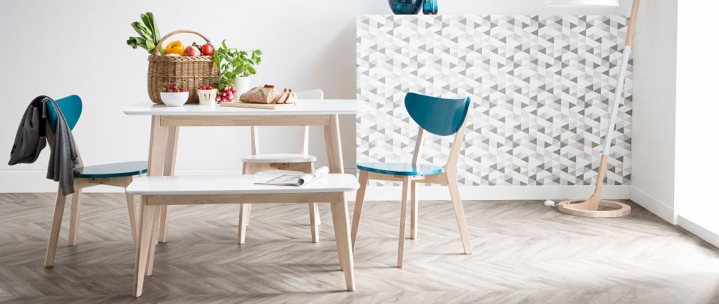 Table à manger design blanc et bois clair L120 cm LEENA