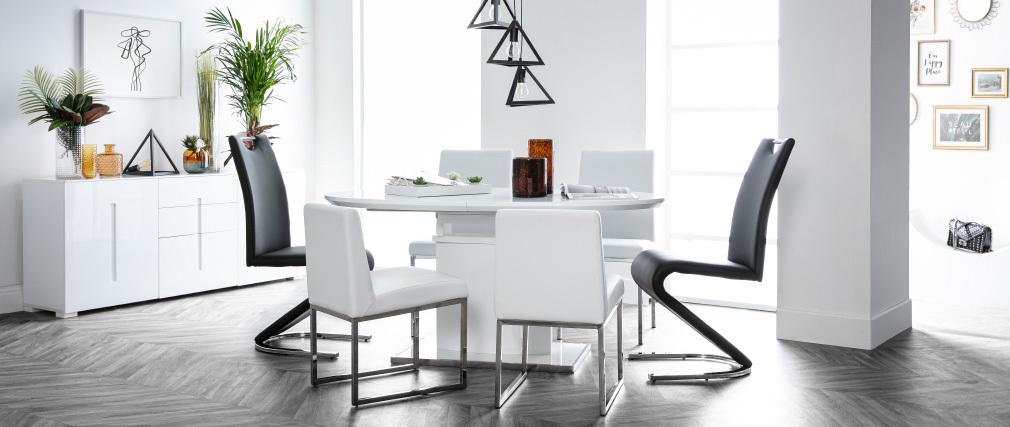 Table à manger design extensible blanche L160-200 cm CLEONES