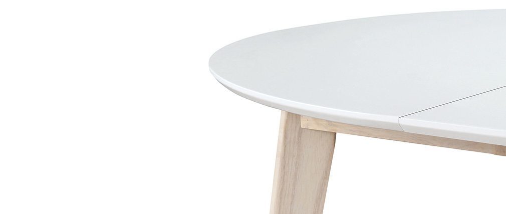 Table à manger design ronde extensible blanc et bois L120-150 cm LEENA