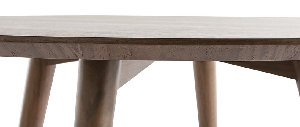 Table à manger design ronde noyer D120 cm LIVIA