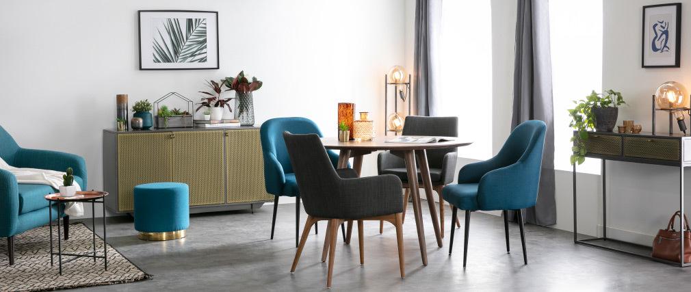 Table manger design ronde noyer livia miliboo - Table ronde rallonge design ...