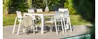 Table à manger d'extérieur blanc et bois BLANCA