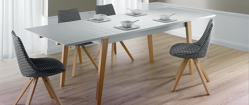Table à manger extensible laquée blanc mat et bois L160-250 cm ADORNA