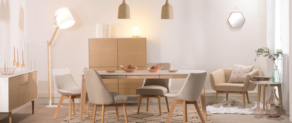 Table à manger extensible scandinave blanc et bois clair L150-200 cm LEENA