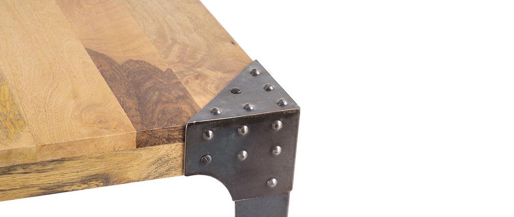 Table à manger industrielle acier et bois 160 cm MADISON