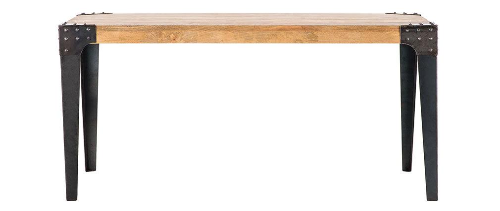 Table à manger industrielle acier et manguier massif L160 cm MADISON