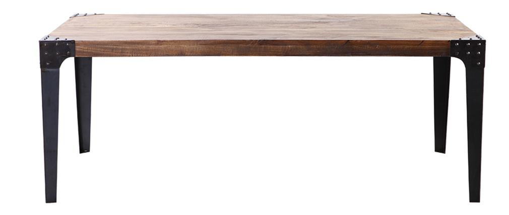 Table à manger industrielle acier et manguier massif L200 cm MADISON