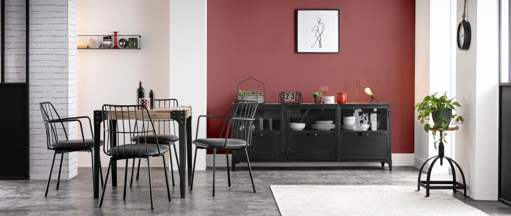 Table à manger industrielle en acier et manguier massif L80 cm MADISON