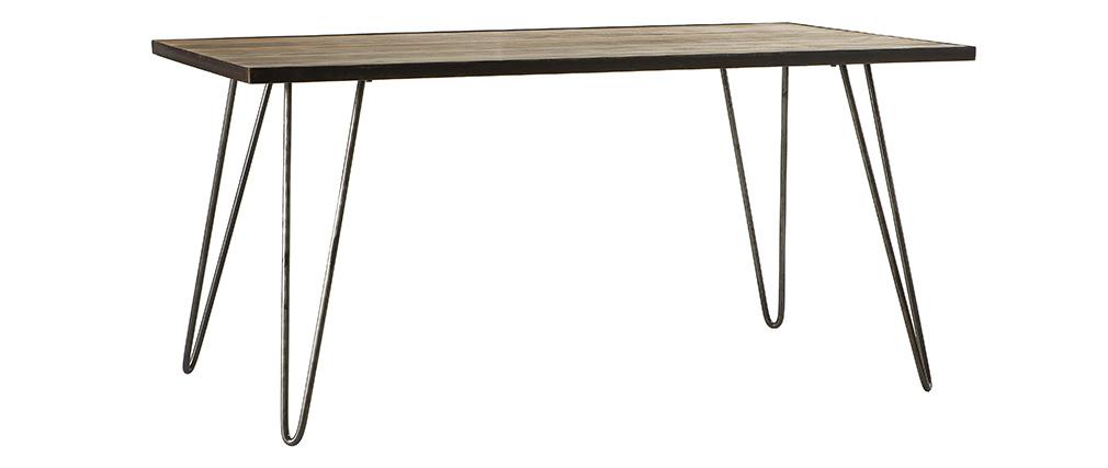 Table à manger industrielle manguier massif et métal L160 cm ATELIER