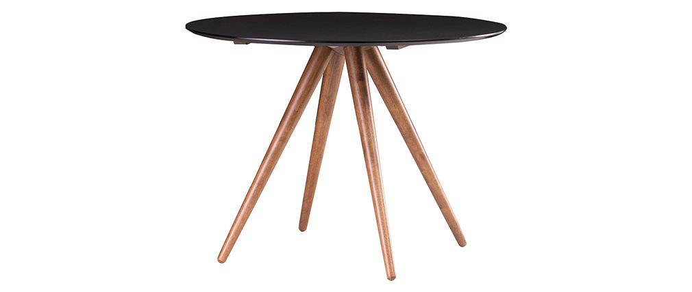 Table à manger ronde design 106 cm noyer et noir WALFORD