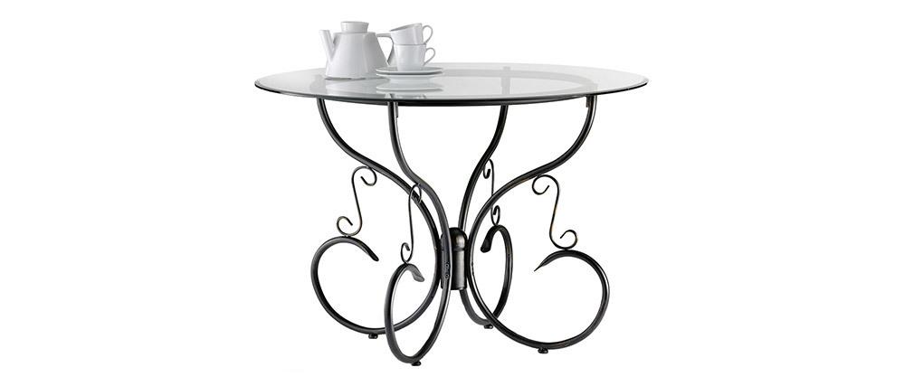 Table à manger ronde en verre et acier D110 cm Florence