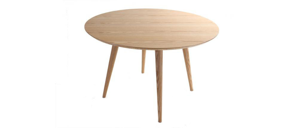 Table à manger ronde frêne D120 cm LIVIA