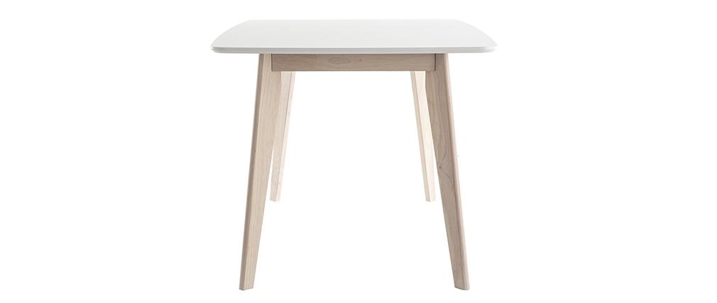 Table à manger scandinave blanc et bois clair L150 cm LEENA
