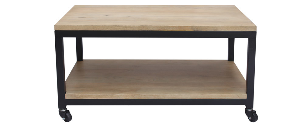 Table basse à roulettes en manguier massif et métal L90 cm FACTORY