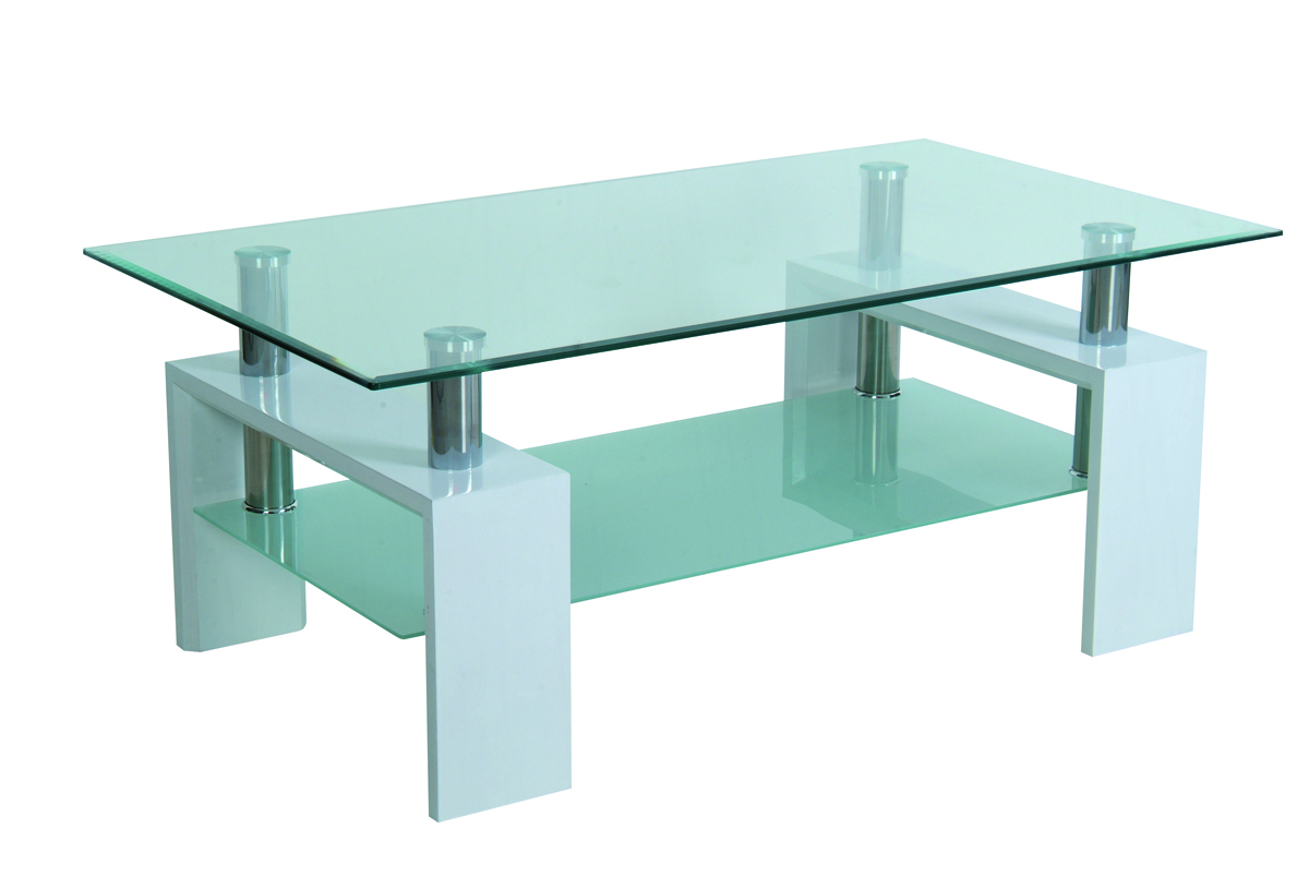 Table de salon moderne blanc pr l vement d - Table basse laquee beige ...