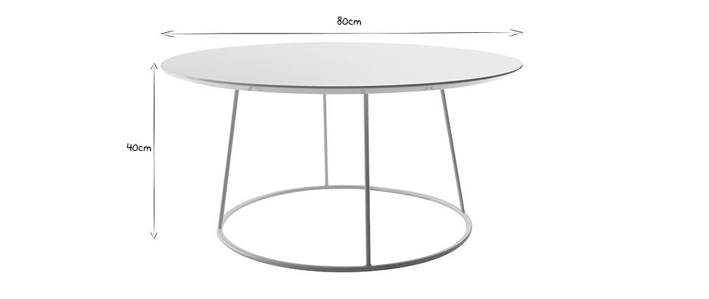 Table basse design blanche D80 x H40 cm KALY
