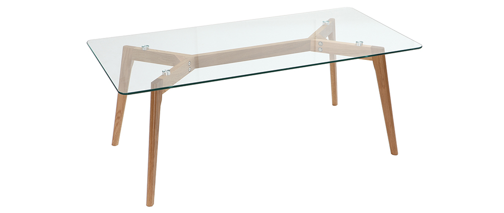 Table basse design contemporain verre et chêne DAVOS