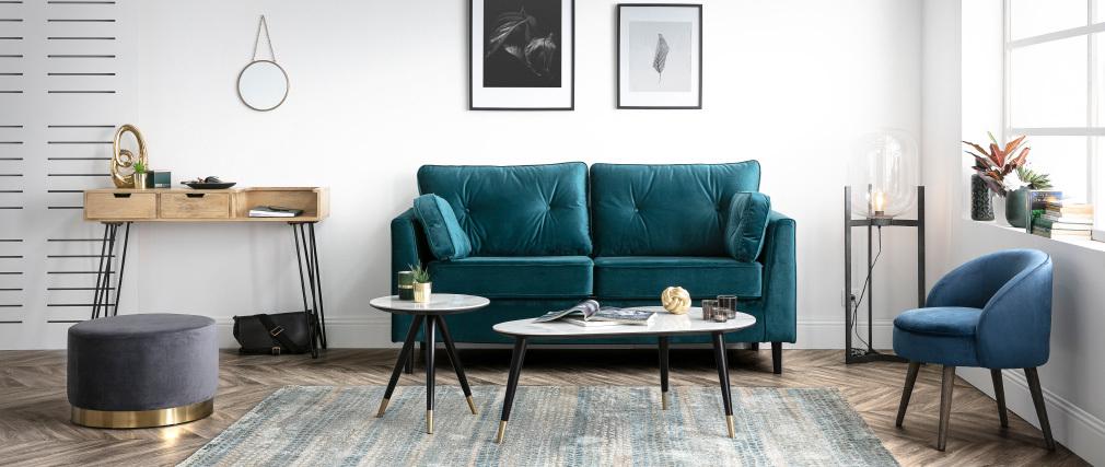 Table basse design effet marbre avec pieds bois et or ALLURE