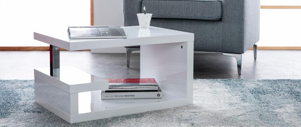 Table basse design laquée blanche REX