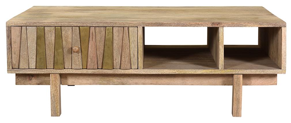Table basse design manguier massif et laiton ZAIKA