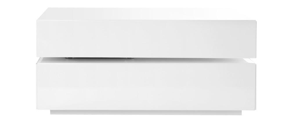 Table basse design pivotante 4 tiroirs blanc ELEA