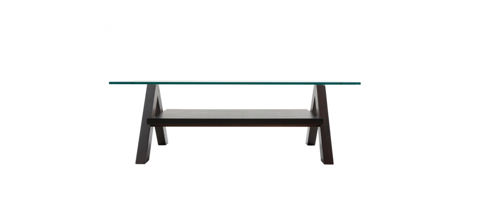 Table basse design weng et plateau en verre tremp rectangulaire bailey mi - Table basse design en verre trempe ...