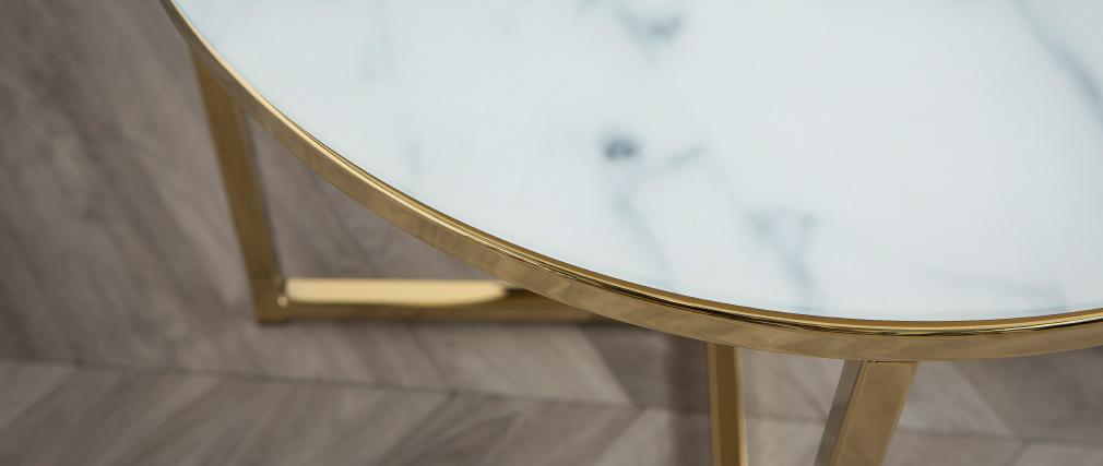 Table basse effet marbre D50 x H42 cm SILAS