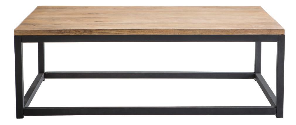 Table basse industrielle en manguier massif et métal FACTORY