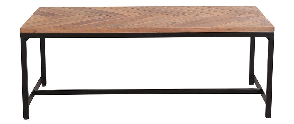 Table basse moderne en acacia massif et métal noir STICK