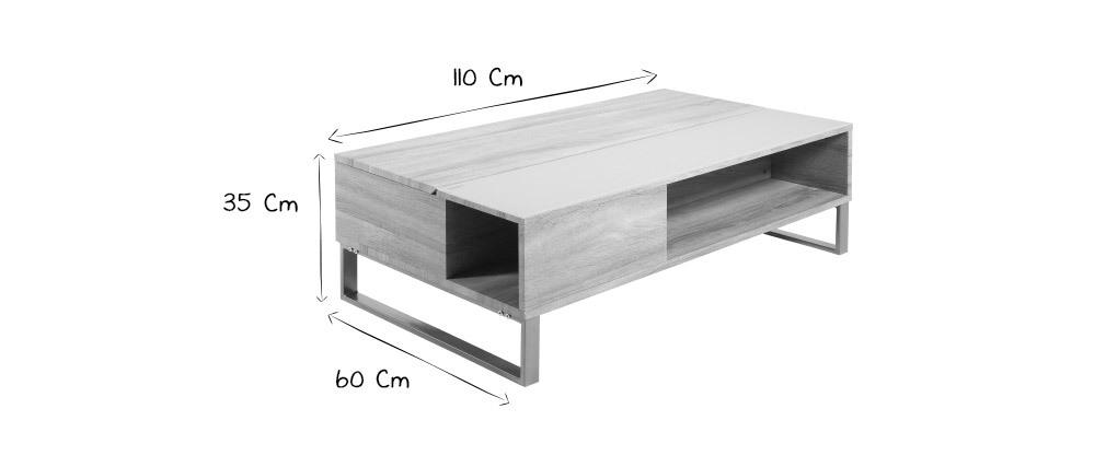 Table basse relevable en bois et métal WYNN