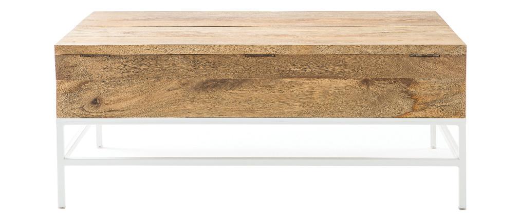 Table basse relevable manguier massif et métal blanc BOHO